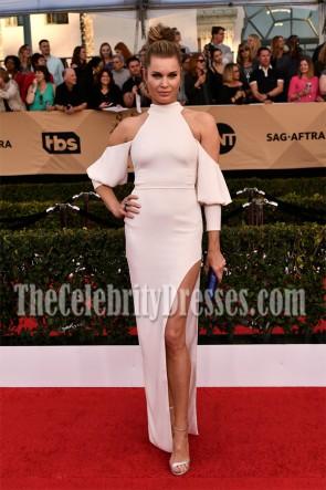 Rebecca Romijn White High Slit Floor Length Cold Shoulder Halter Evening Dress 23rd Annual Screen Actors Guild Awards