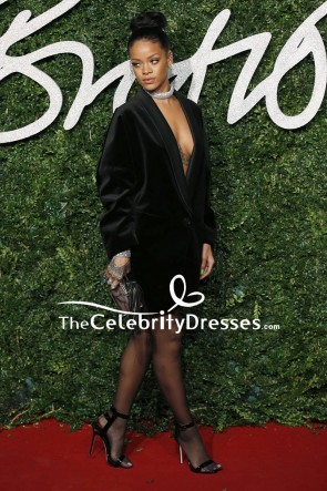 Rihanna Black Deep V-neck Blazer 2014 British Fashion Awards Red Carpet