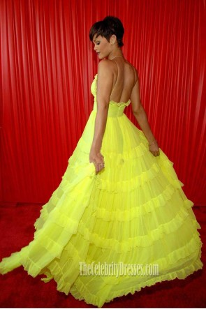 Rihanna Yellow Spaghetti Straps V-neck Backless A-line  Ruffle Dress BET Awards 2008 TCD7399