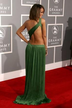 Rihanna Green découper robe de soirée formelle Robes Robes de soirée Grammy
