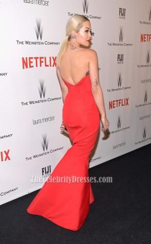 Rita Ora Robe de soirée sirène sans bretelles rouge Golden Globes Party