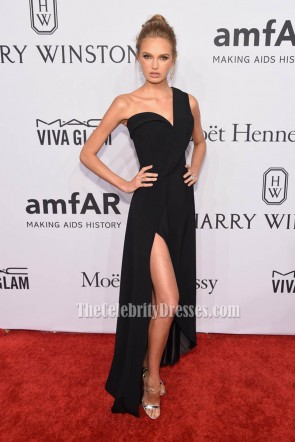 Romee Strijd Black One Shoulder Evening Dress 2016 amfAR New York Gala  1