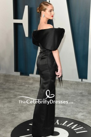 Rosie Huntington-Whiteley Black Off-the-shoulder Formal Dress 2020 Vanity Fair Oscar Party