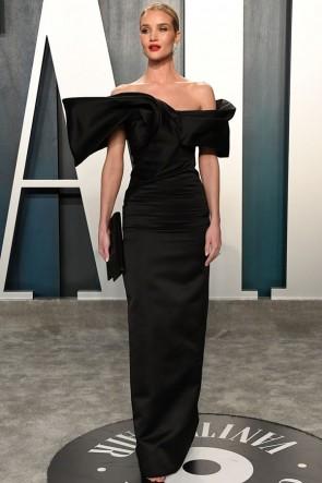 Rosie Huntington-Whiteley Black Off-the-shoulder Formal Dress 2020 Vanity Fair Oscar Party