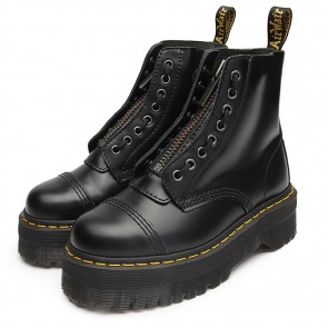 Round Toe Leather Platform Combat Boots