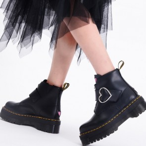 Round Toe Platform Combat Boots With Buckle