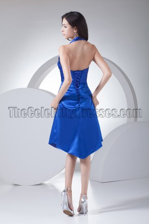 Discount Royal Blue Halter Cocktail Bridesmaid Dresses