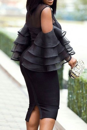 Trumpet Sleeves With Layered Ruffles Bodycon Dress