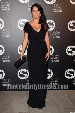 Salma Hayek Black Deep V-neck Evening Dress With Short Sleeves 2012 Award for Women in Cinema