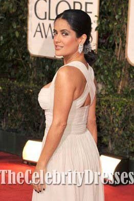 Salma Hayek Robe de soirée rouge sexy à carreaux Golden Globe 2009