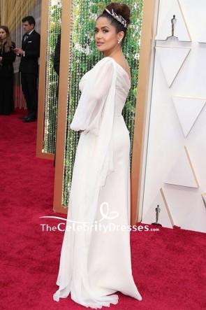 Salma Hayek White One-shoulder Formal Dress 2020 Oscars