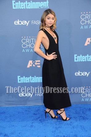 Sarah Hyland Robe de cocktail noire à col en V profonds 2016 Critics 'Choice Awards