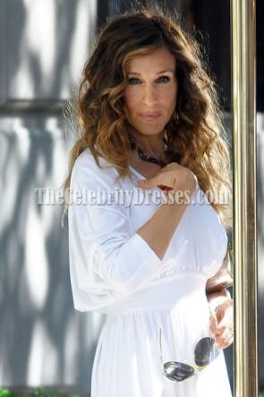 Sarah Jessica Parker robe de cocktail blanche dans