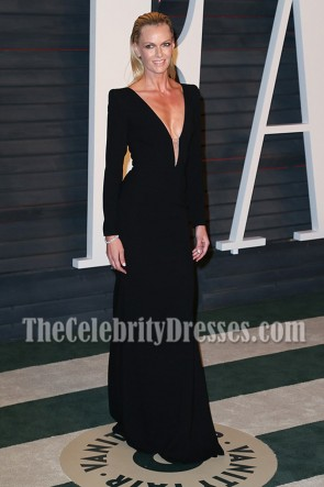 Sarah Murdoch Robe longue noire à manches longues Vanity Fair Oscar After-party 2016
