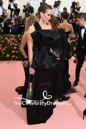 Sarah Paulson Black Column One Shoulder Dress 2019 Met Gala TCD8513