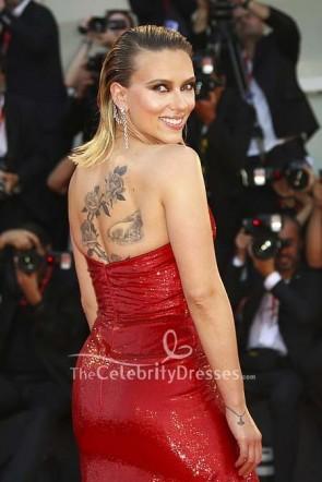 Scarlett Johansson red sequined Strapless Dress Venice Film Festival 2019  TCD8630