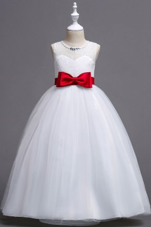 Scoop Neck Sleeveless A-line Floor-length Junior Bridesmaid Dress With Bows