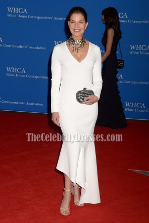 Sela Ward White Asymmetrical Formal Evening Dress 2016 White House Correspondents' Association Dinner  1