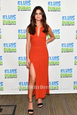Selena Gomez Z100 Radio Studio 2017 Orange Rouge Sexy Haute Fente Gaine Robe de Soirée