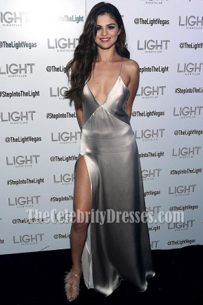 Selena Gomez Silver Evening Dress High Split Prom Gown at 'Revival' Tour After-party 4