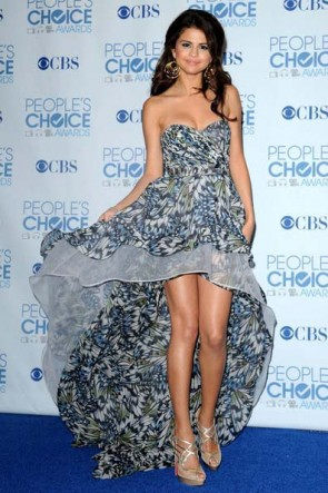 Selena Gomez Strapless Hi-Low Prom Dress 2011 People's Choice Awards Red Carpet