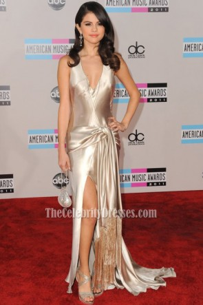 Selena Gomez & Justin Bieber 2011 American Music Awards Prom Dress Red Carpet