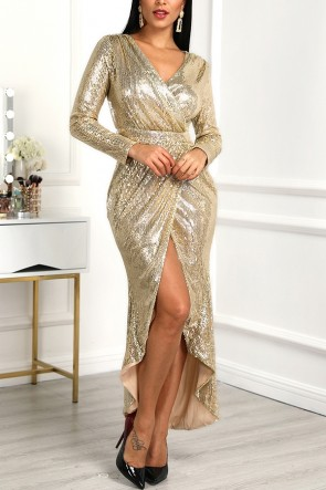 Sequined Plunging Slit Dress