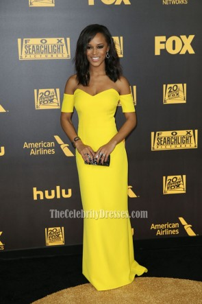 Serayah Yellow Off-the-shoulder Evenig Prom Gown NBC Universal's 73rd Annual Golden Globes Party  1