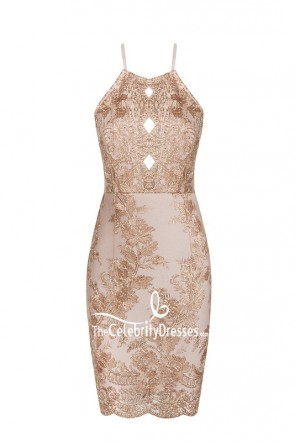 Sexy Apricot Embroidered Cut Out Bodycon Bandage Mini Party Dress TCDB7641
