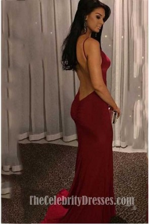 Sexy Burgundy Low Back Evening Gown TCDFD7385