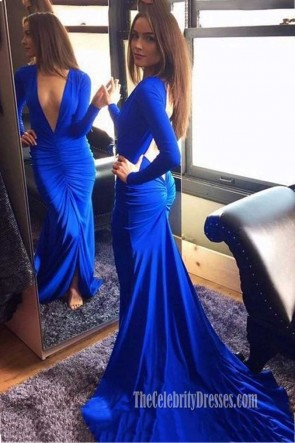 Sexy Low Cut Royal Blue Long Sleeve Evening Dress TCDFD7386