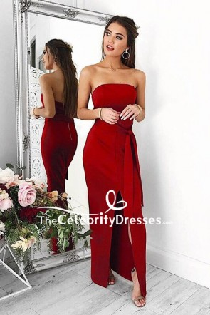 Sexy Red Strapless Prom Dress With High Slit