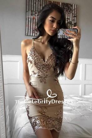 Sexy Spaghetti Strap Embroidered Deep V-neck Mini Bandage Bodycon Dress