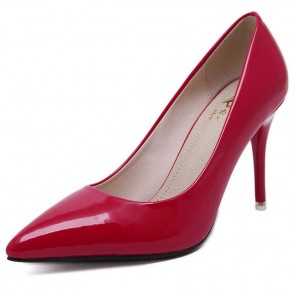 Sexy Hot Red Pointed Toe Heels Cap Toe Prom Stiletto Heels Women's Shoes