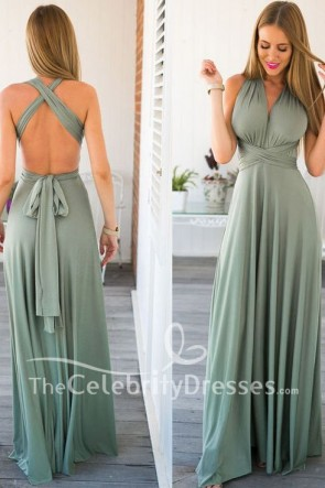 Sexy backless Self Tie Design Convertible Evening Dress Prom Gown