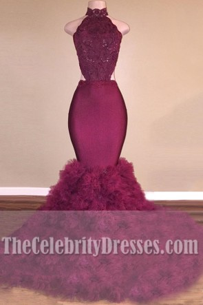 Sexy Burgundy Mermaid Ball Gown Long Backless Wedding Dress