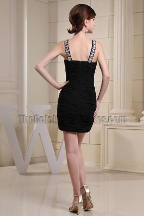 Sexy Petite robe noire courte Mini Robes de soirée avec perles