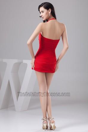 Super Sexy Mini Red Halter Chiffon Party Dresses