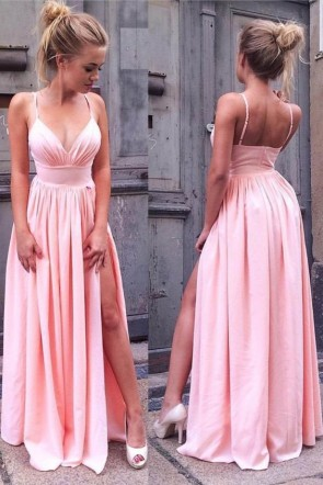 Sexy Pearl Pink High Split V-neck Prom Dress