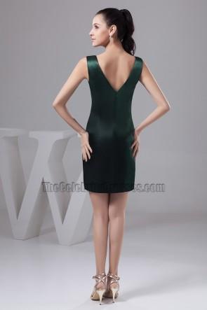 Sexy Short Dark Green V-Neck Party Cocktail Dresses