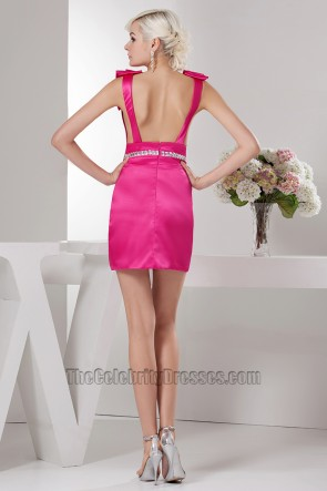 Sexy Short Mini Fuchsia Backless Party Cocktail Dresses