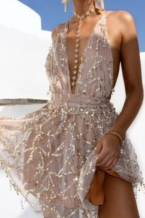 Sexy V-neck Backless Romper Sequined Dress
