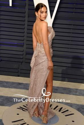 Shanina Shaik Sequined Strapless Thigh-high Slit Formal Dress 2019 Vanity Fair Oscar party TCD8332