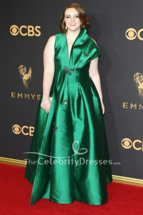 Shannon Purser Hunter Plus Size Taffeta Ball Gown 2017 Emmy Awards Red Carpet