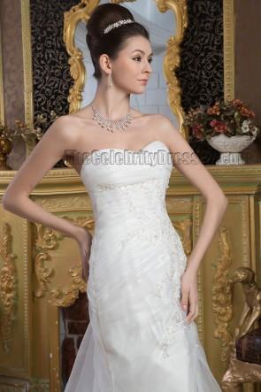 Sheath/Column Strapless Embroidered Chapel Train Wedding Dresses