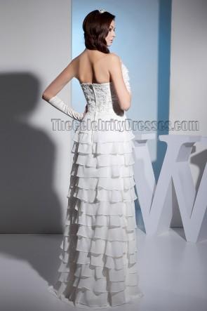 Sheath/Column Strapless Floor Length Embroidered Wedding Dress