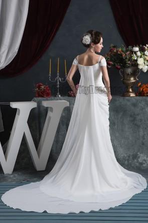 Sheath/Column Off-the-Shoulder Watteau Train Wedding Dress