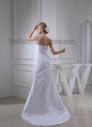 Sheath/Column Strapless Lace Sweep Brush Train Wedding Dress