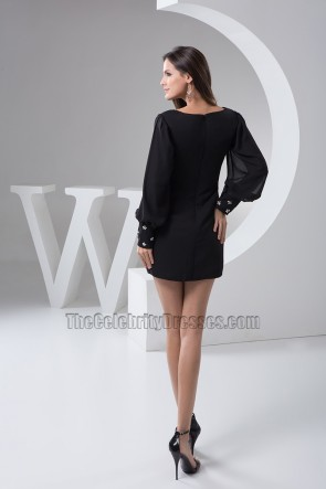 Short Black Chiffon Long Sleeve Party Homecoming Dresses