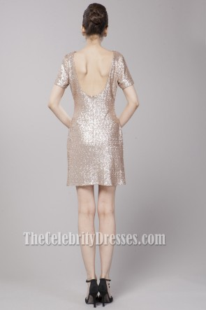Short/Mini Matt Sequined Backless Cocktail Party Dresses